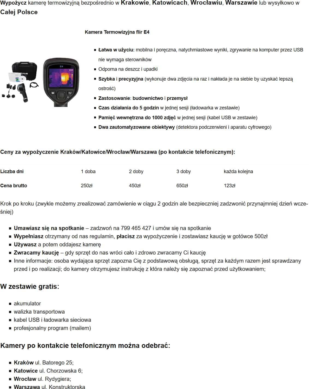 Kamera Termowizyjna Wypożyczalnia Częstochowa