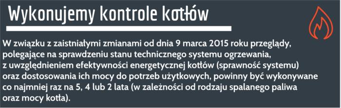 protokół kontroli kotła gazowego Zwoleń